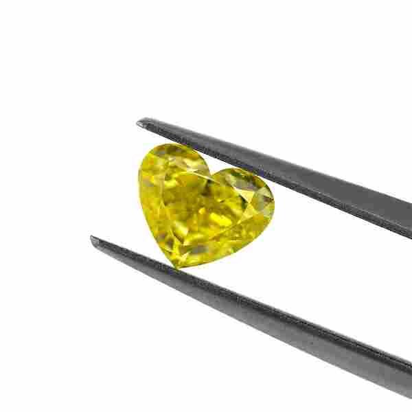 1.00 Carat Loose Fancy Vivid Yellow Heart Diamond, GIA