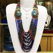 Tibetan Silver Turquoise Stone Dangle Necklace