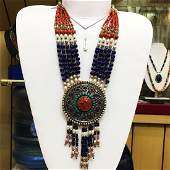 Tibetan Silver Turquoise Coral Necklace