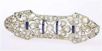 Antique Art Deco 18K Gold Sapphire Diamond Brooch