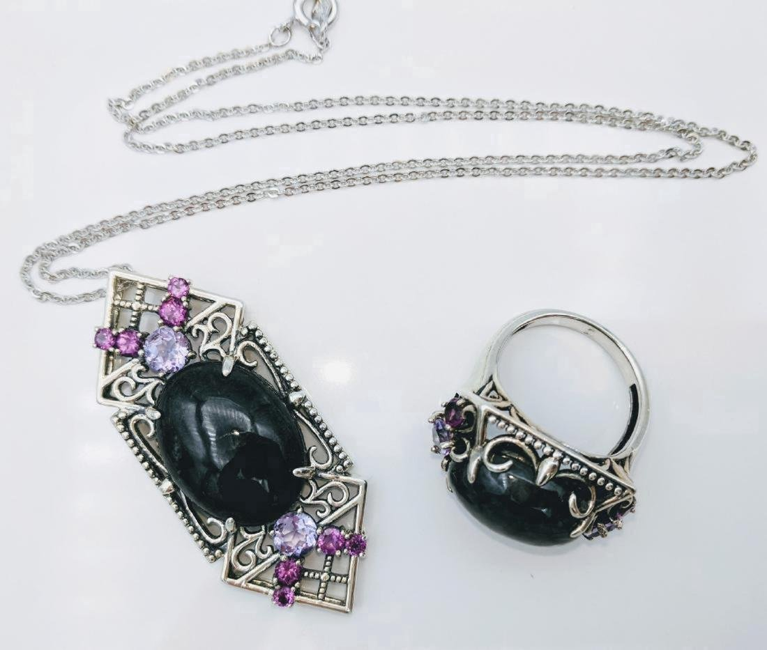 Sterling Silver Nuumite Amethyst Necklace & Ring Set