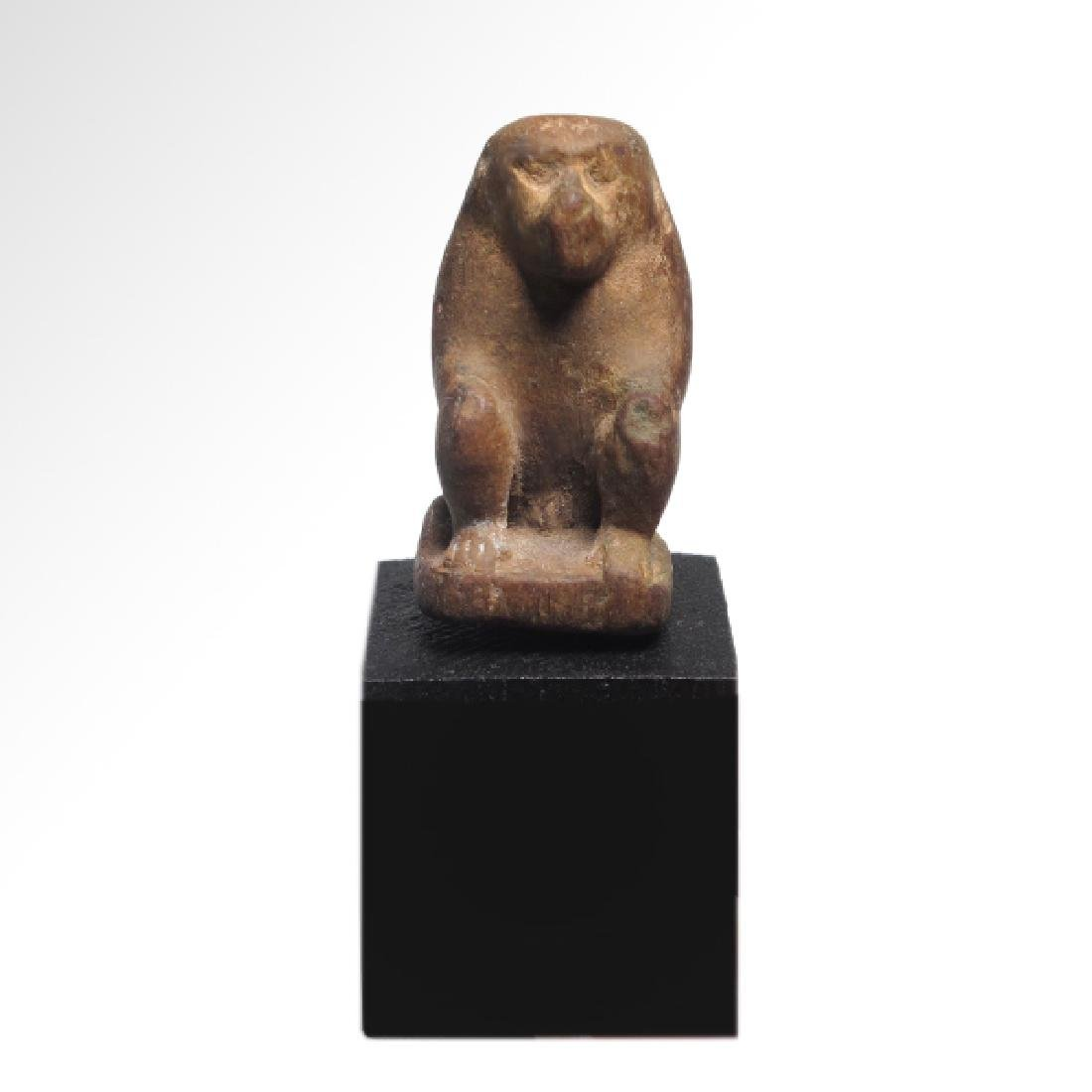 Egyptian Wooden figure of Baboon God Thoth, 26th