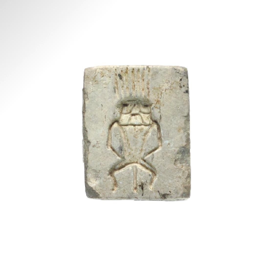 Egyptian Steatite Plaque, Bes and Royal Cartouche of