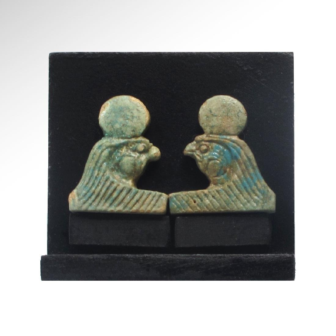 Two Egyptian Faience Necklace Terminals, Heads of