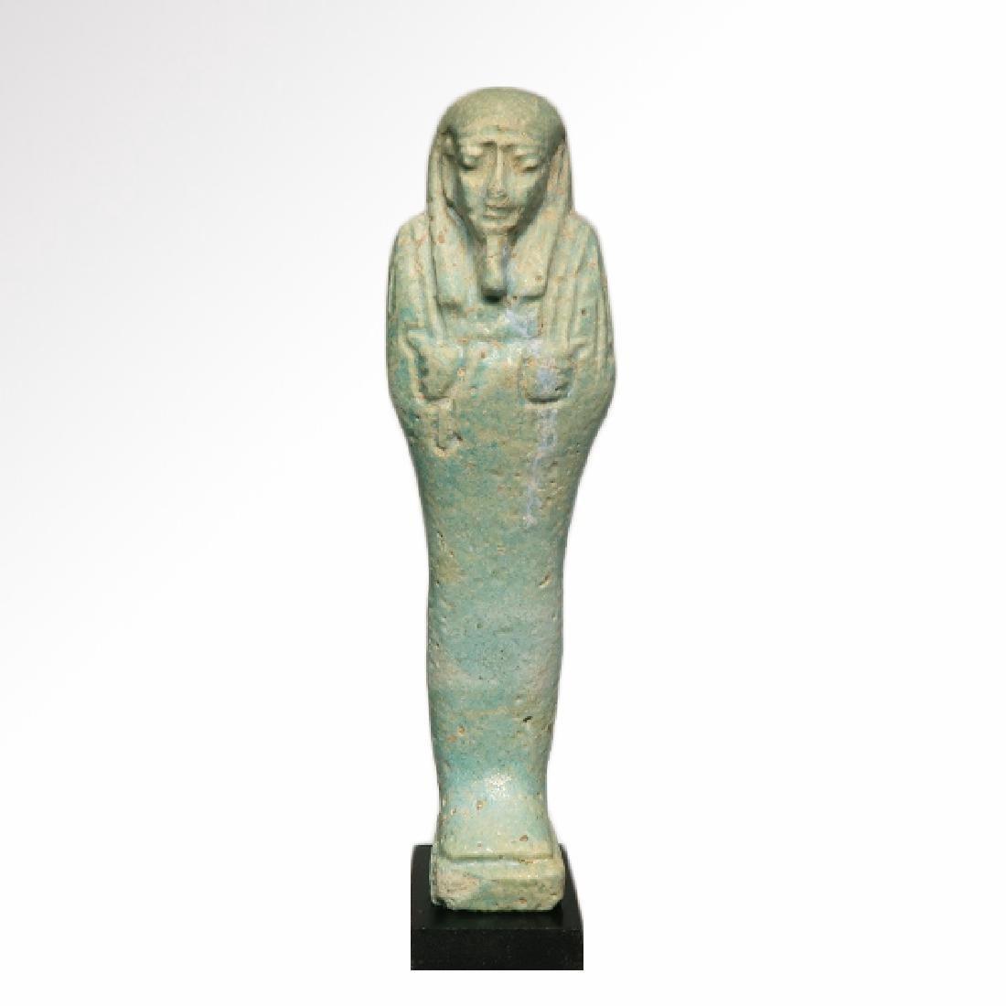 Egyptian Light Turquoise Glazed Faience Shabti, c. 400