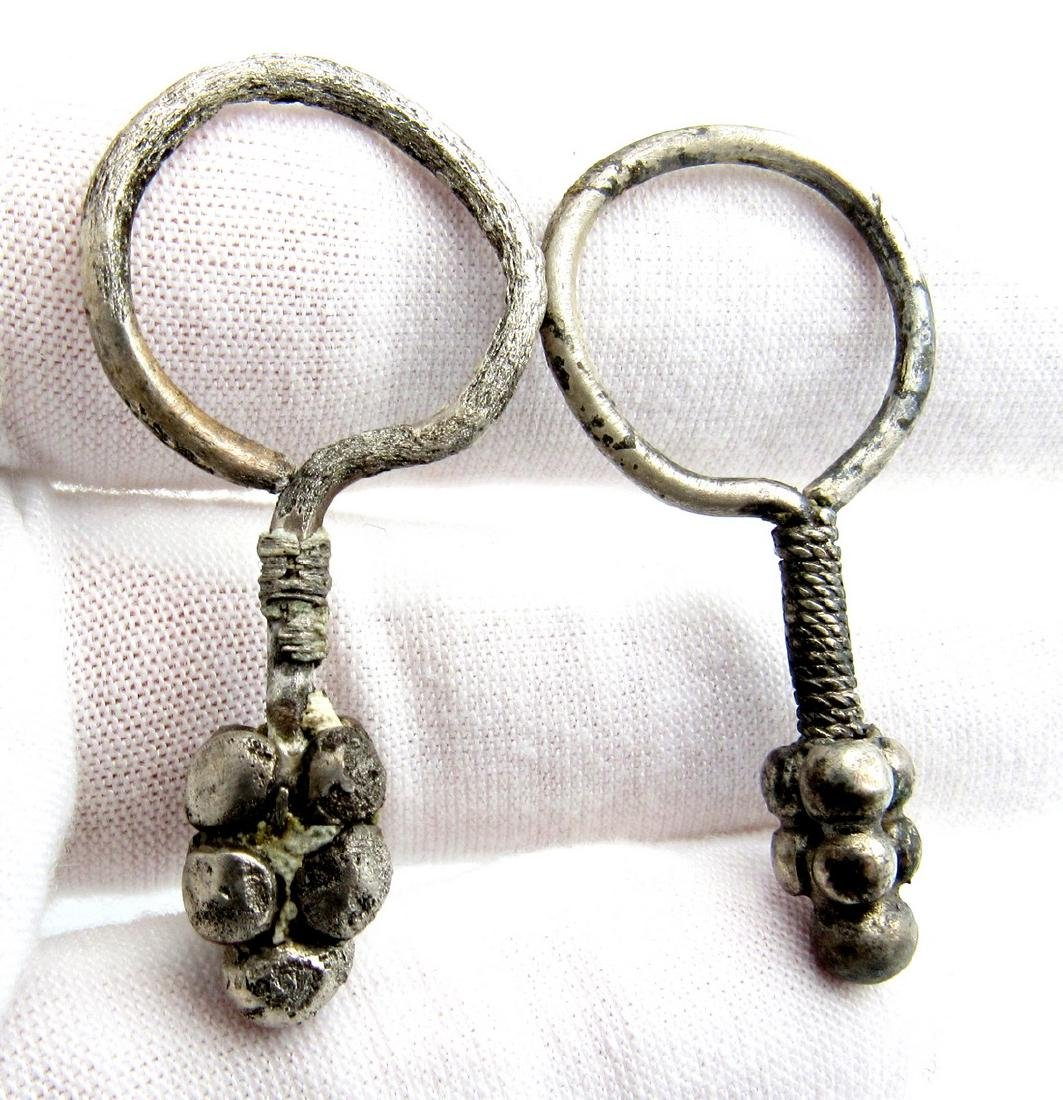 Pair of Viking Silver Decorated Earrings