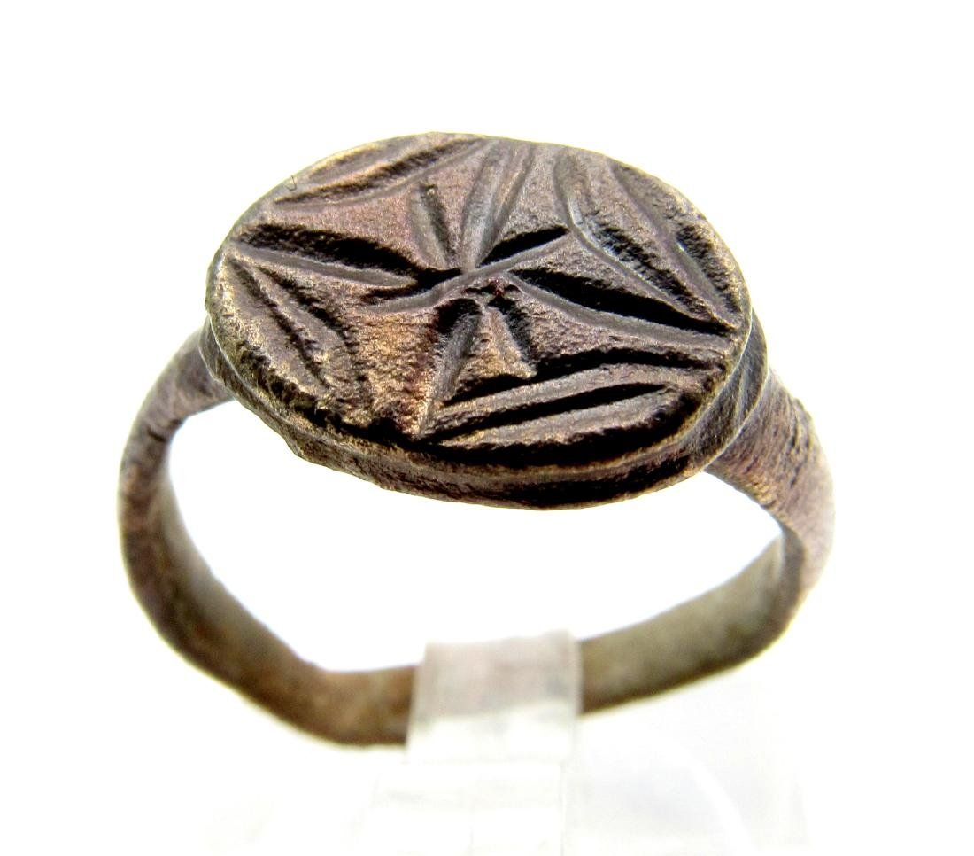 Knights Tempalr Seal Ring with Cross