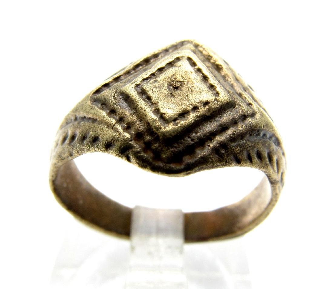 Roman Ring with Diamond Shaped Bezel,