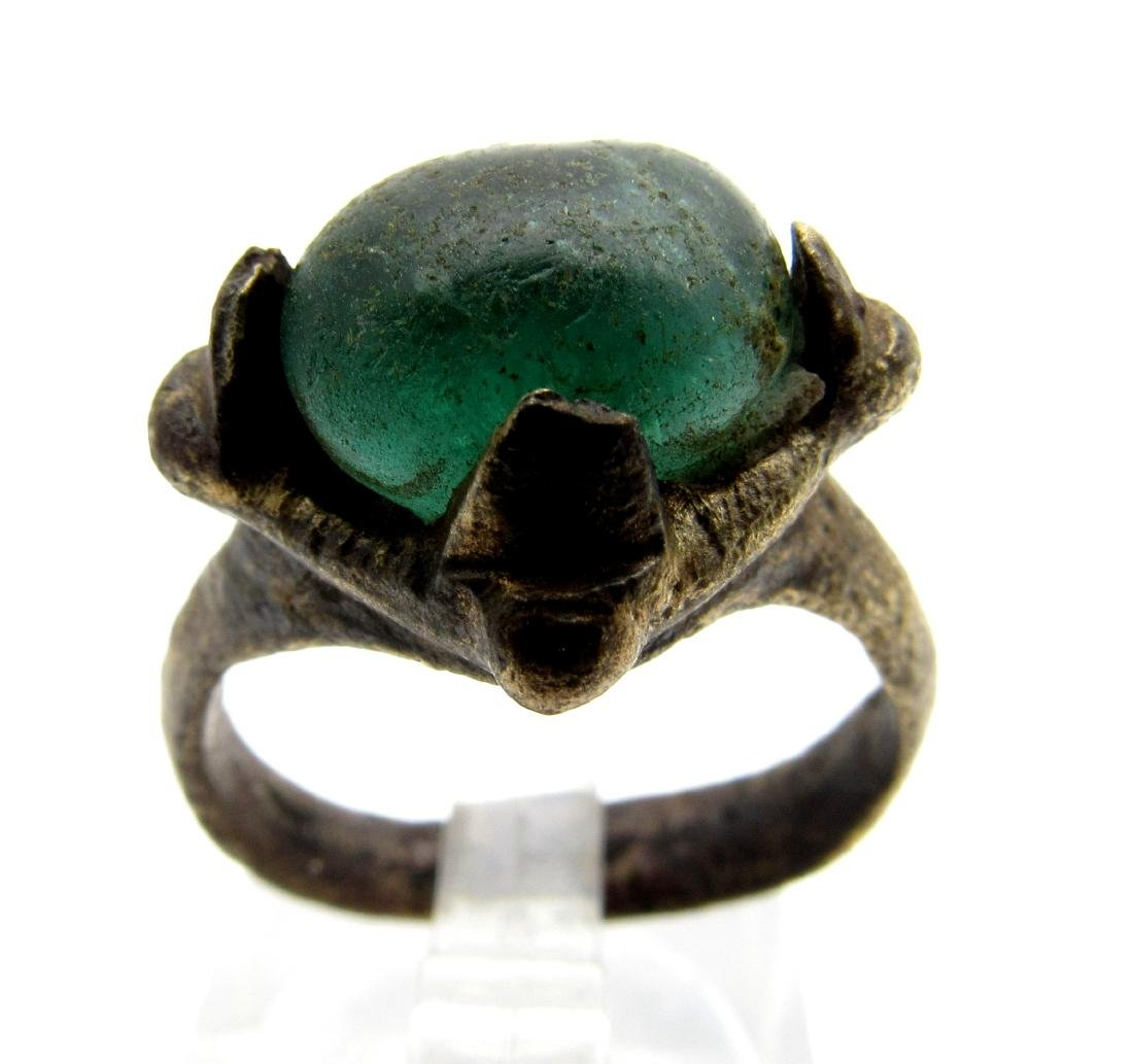 Viking Ring with Green Stone