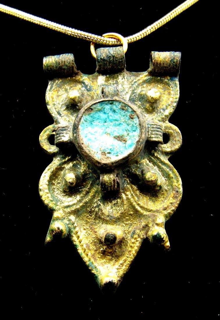 Viking Gold Gilded Pendant with Blue Enamel