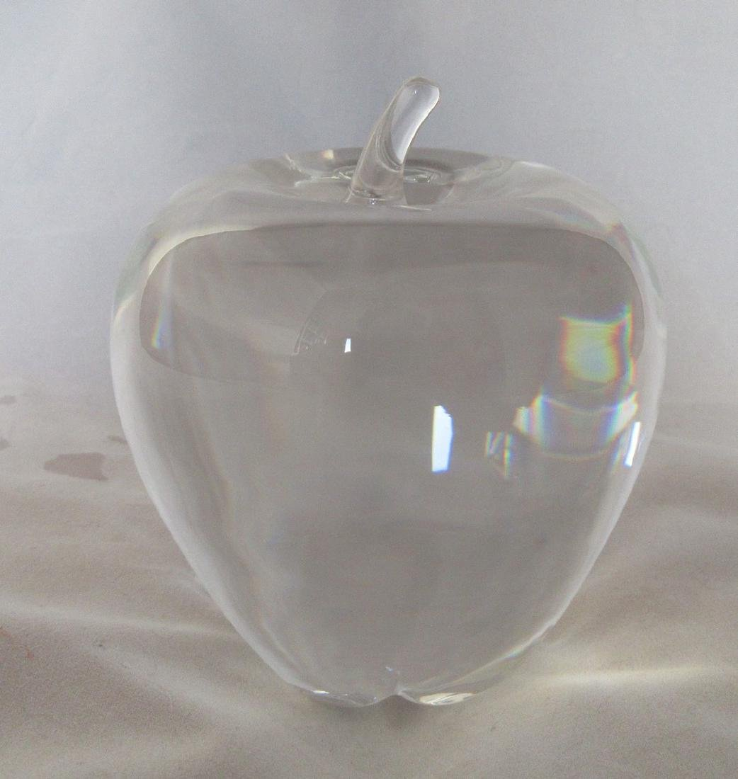 Steuben - Clear crystal apple sculpture