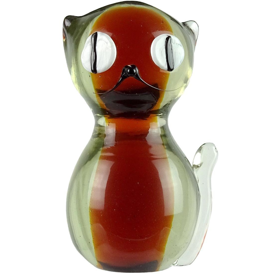 Murano Sommerso Art Glass Kitty Cat Figure