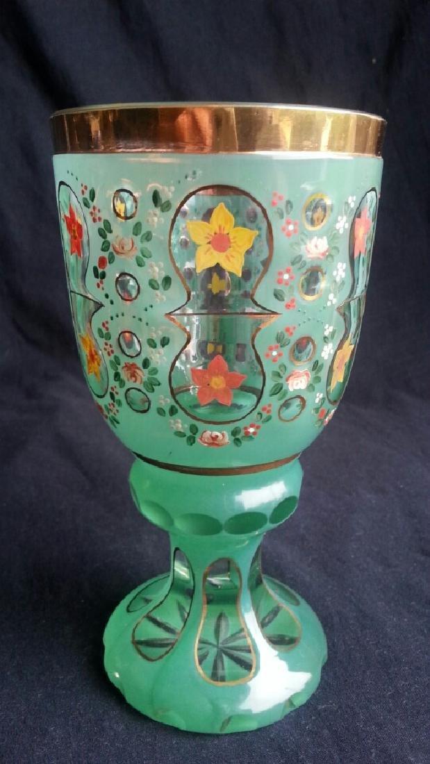 Antique Bohemian Glass / Chalice / Beaker / Vase