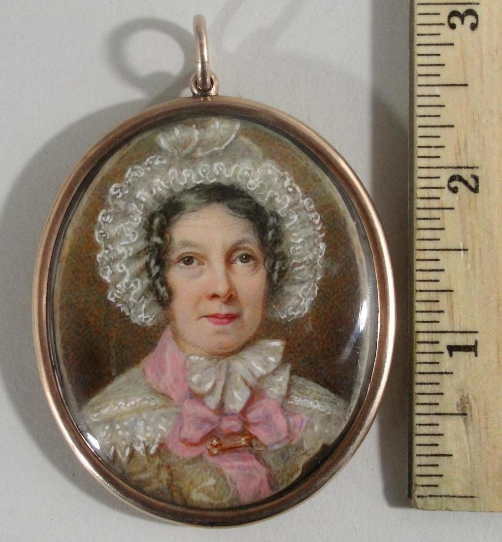 Antique 18C Miniature Portrait Painting Pendant, Woman