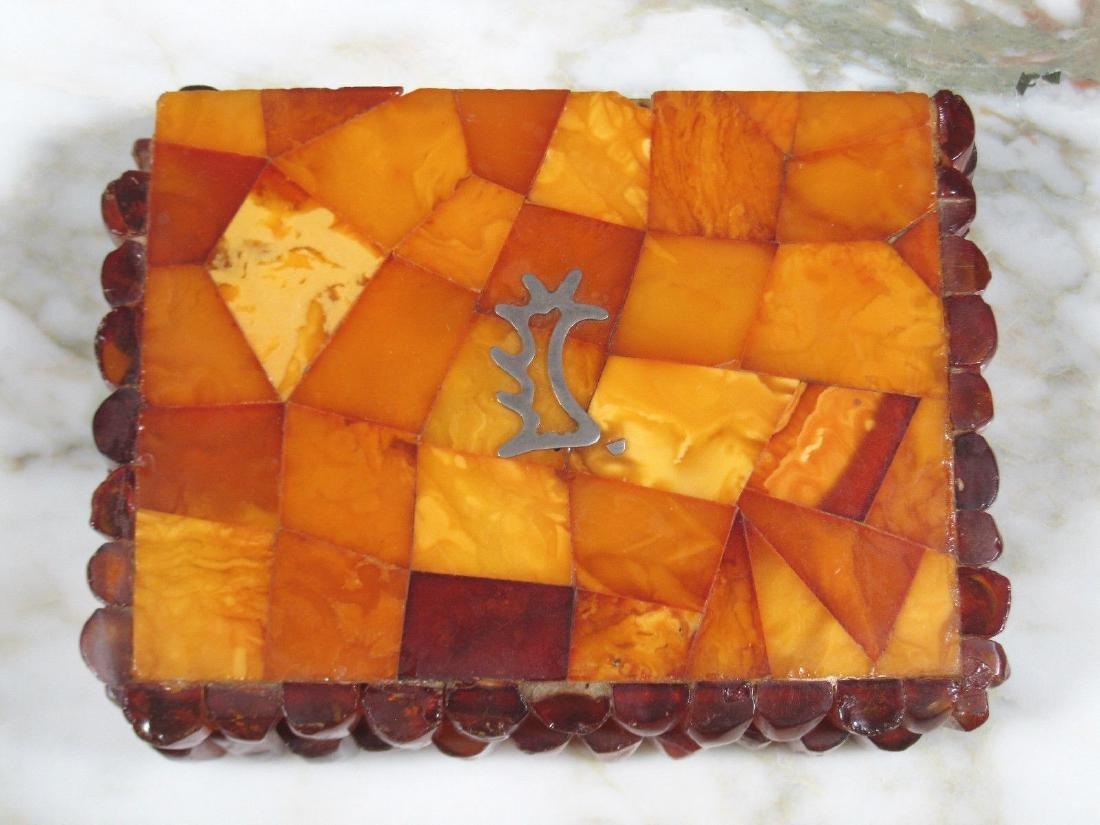 Art Deco Bernstein Butterscotch Amber Jewelry Box