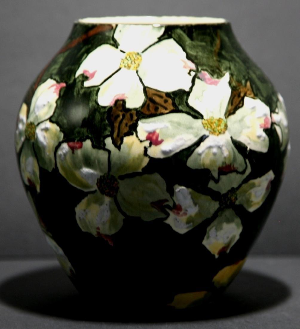 John Bennett NYC Dogwood Blossoms Snow Vase c1880 Mint