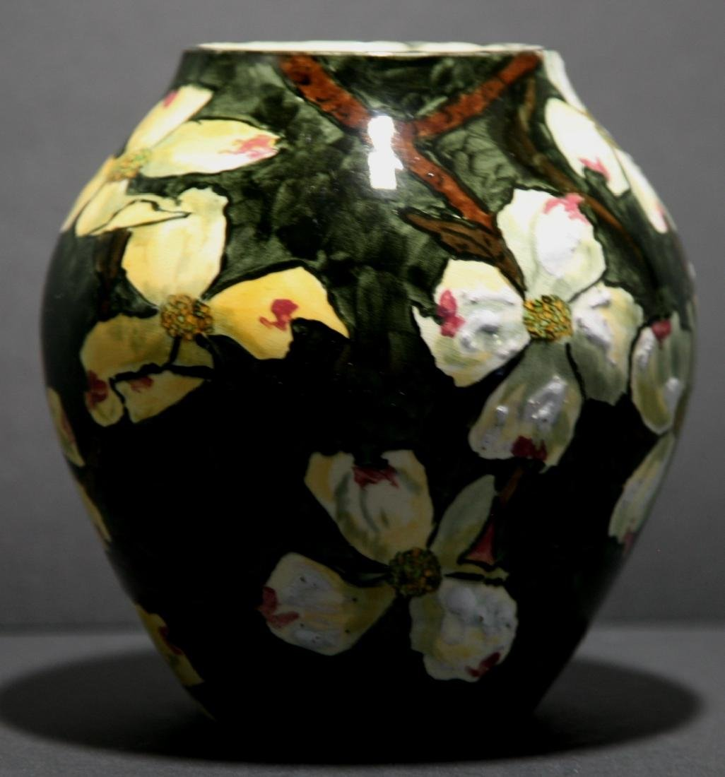 John Bennett NYC Dogwood Blossoms Snow Vase c1880 Mint - 4