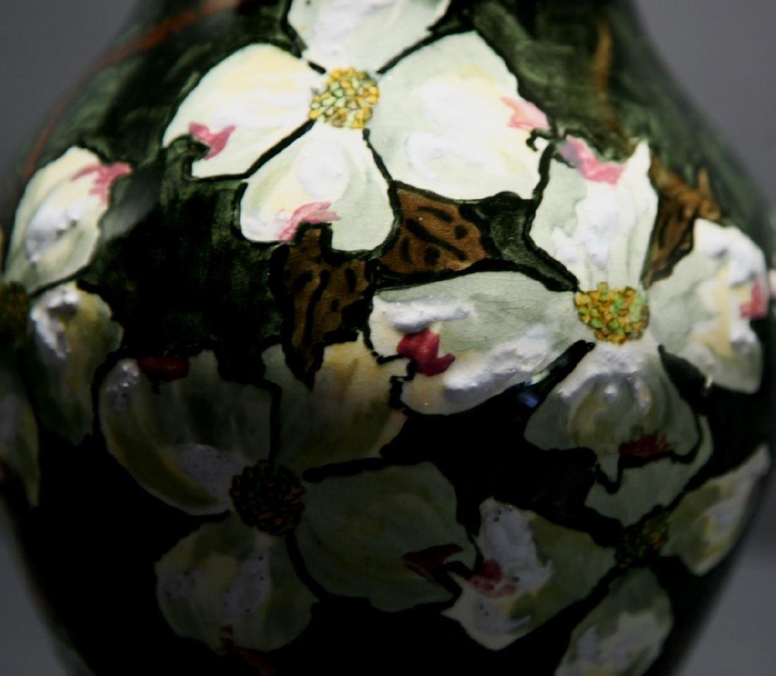 John Bennett NYC Dogwood Blossoms Snow Vase c1880 Mint - 7