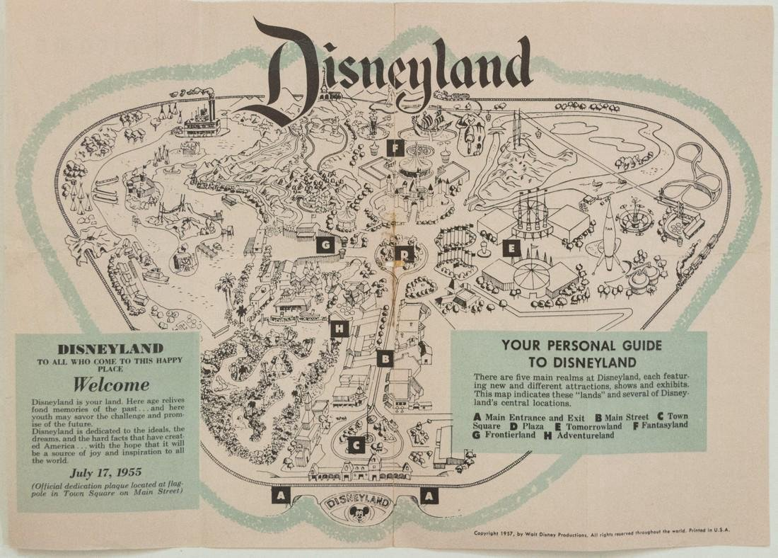 Rare Vintage Disneyland Foldout Gate Map, 1957