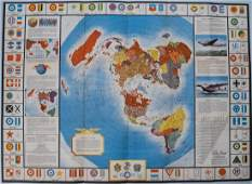 Vintage Polar Projection of World in WWII Pictorial Map