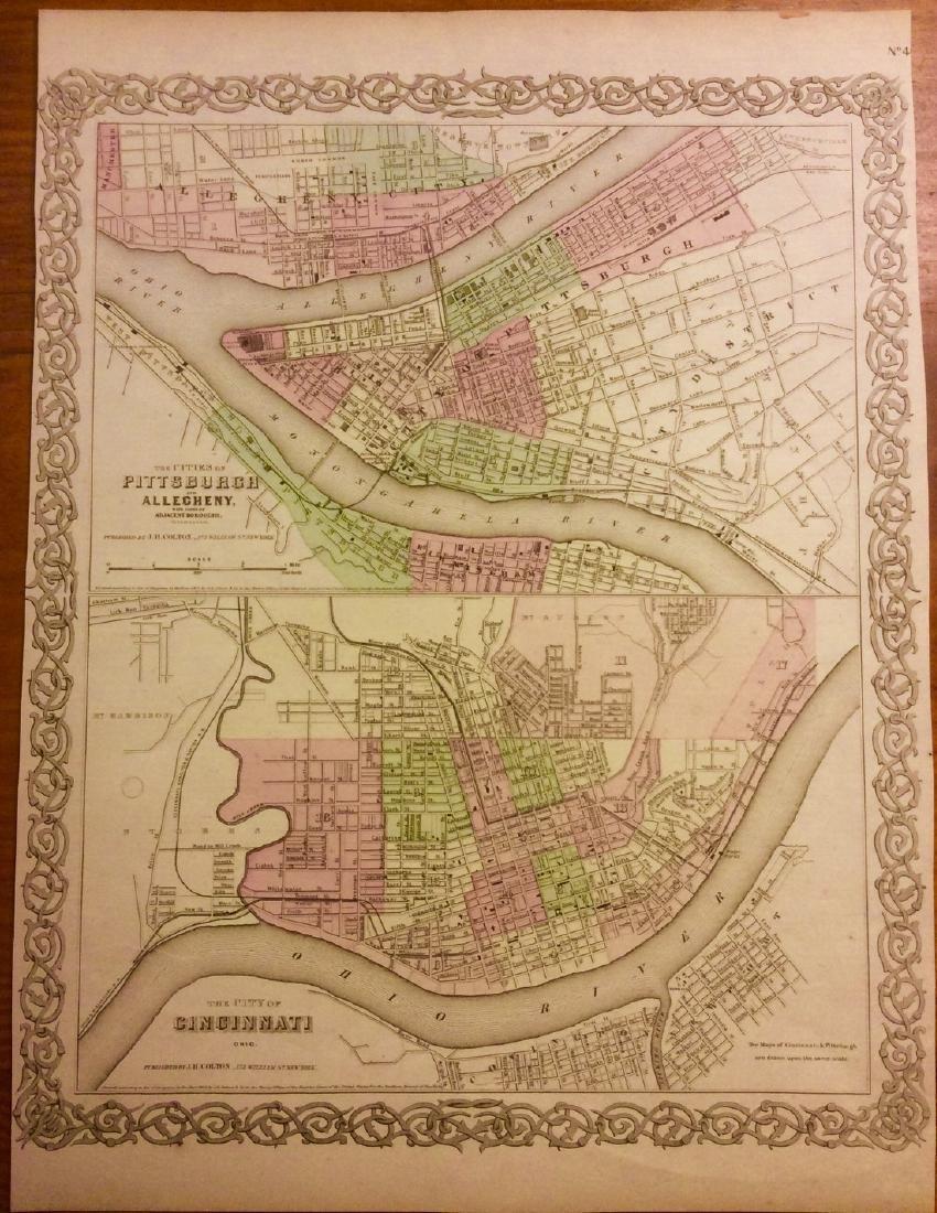 Colton: Antique Map of Pittsburgh & Cincinnati, 1861