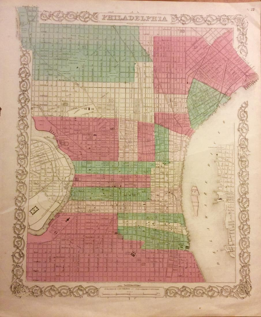 Colton: Antique Map of Philadelphia, 1871