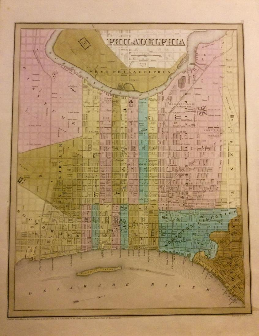 Bradford: Antique Map of Philadelphia, 1838