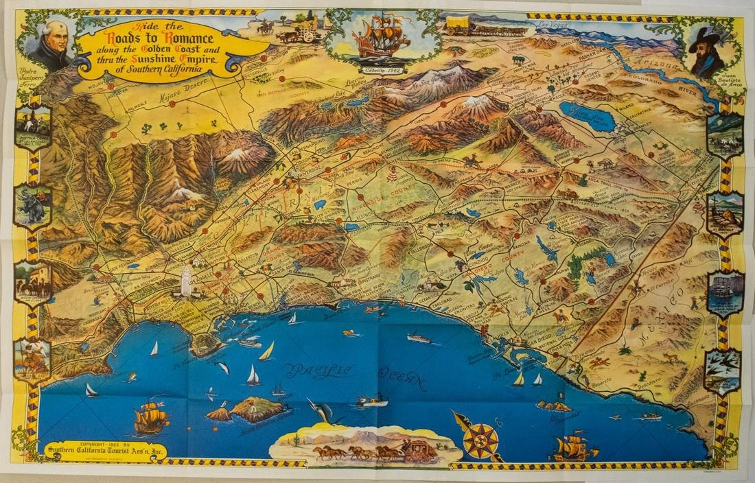 Putnam: Vintage Pictorial Map of South California, 1963