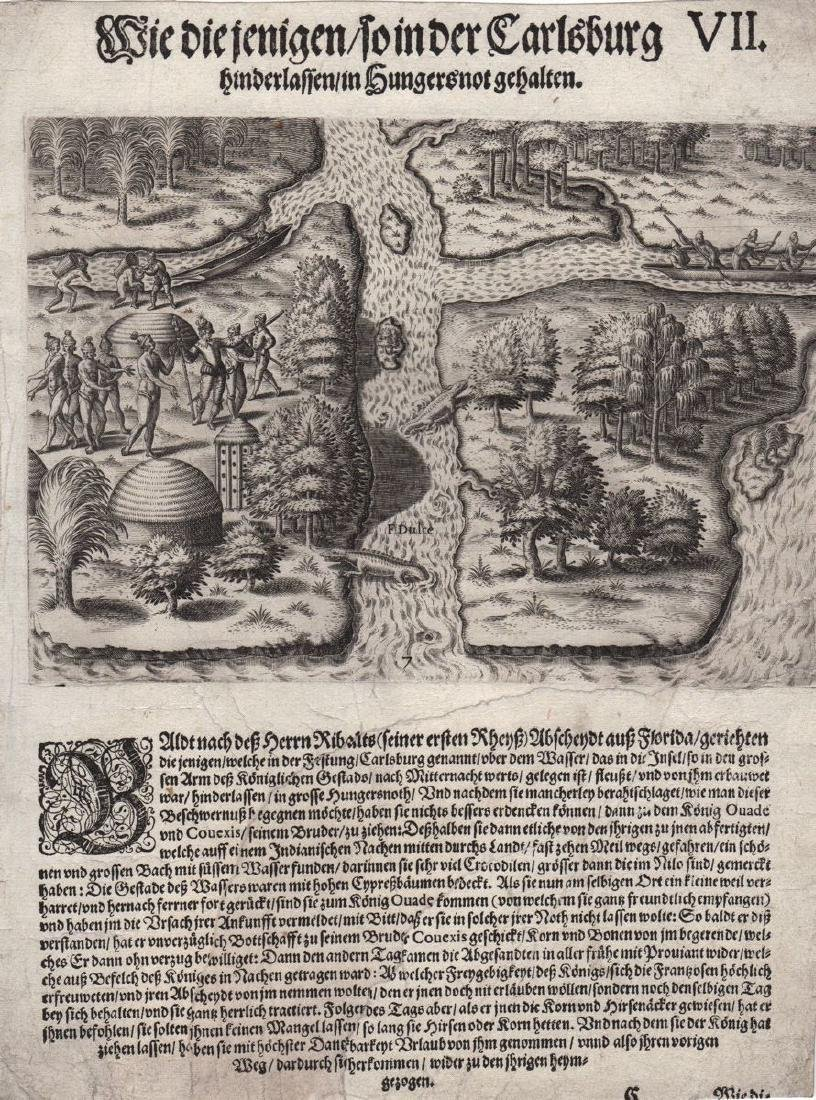de Bry: Antique View of French Florida Colony, 1590