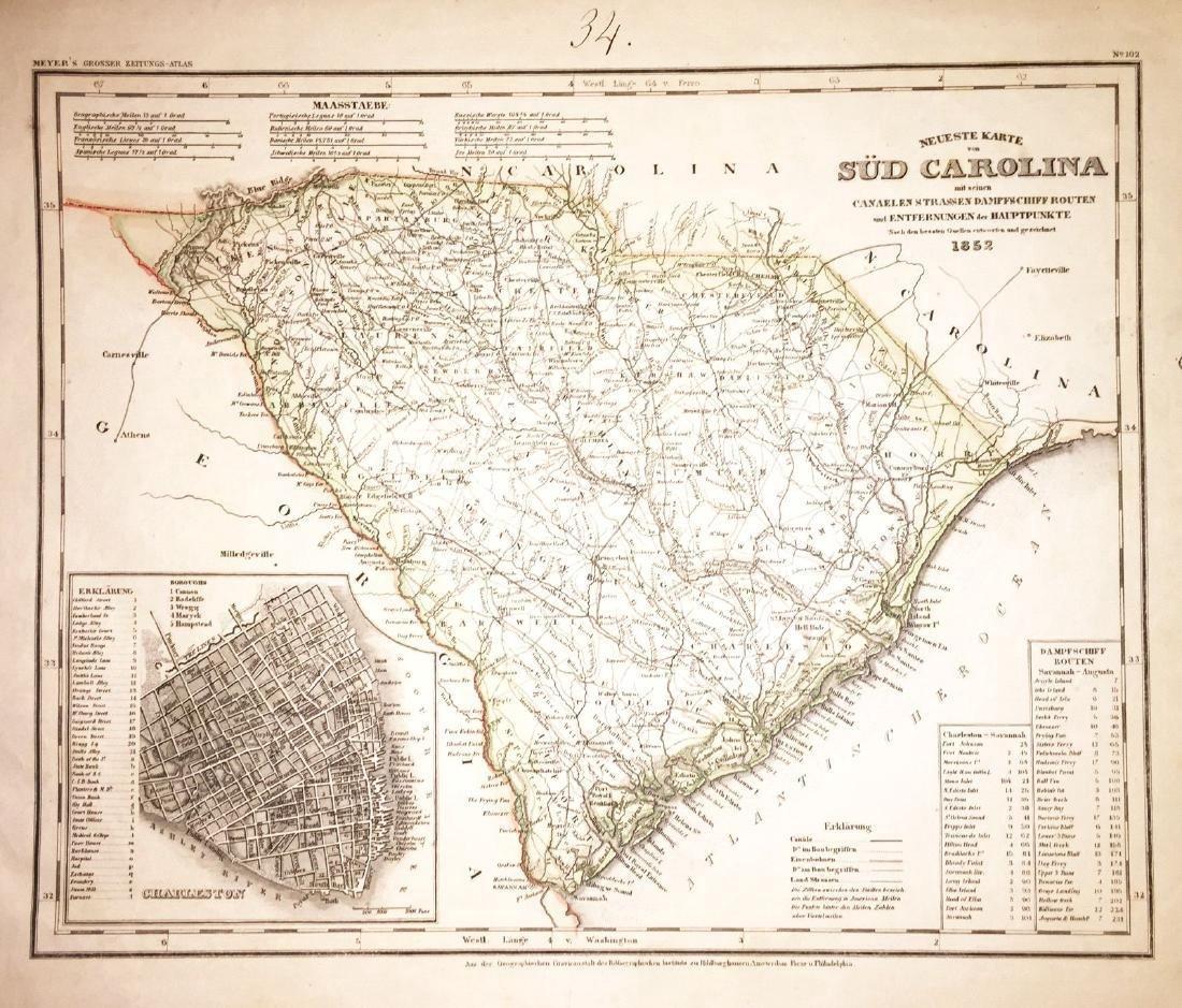 Meyer: Antique Map of South Carolina & Charleston, 1852