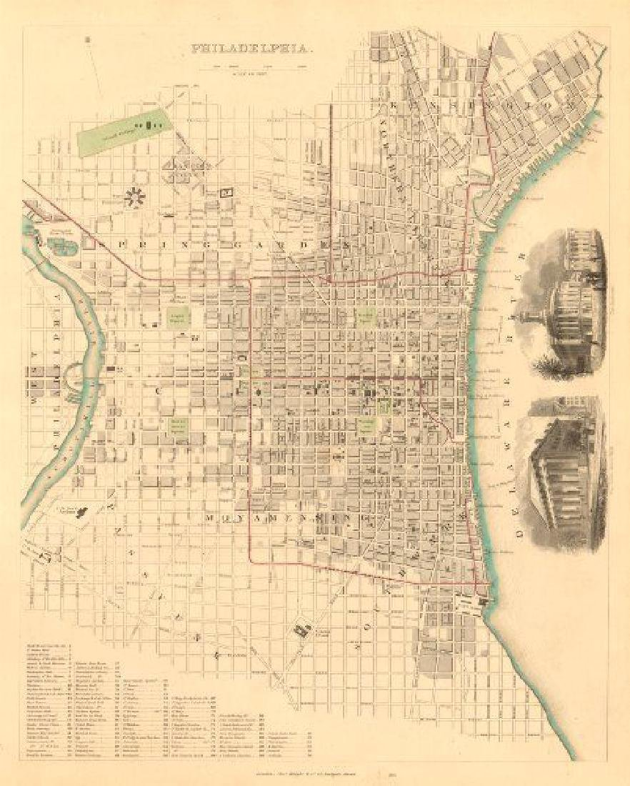 SDUK: Antique Map, City Plan of Philadelphia, 1847