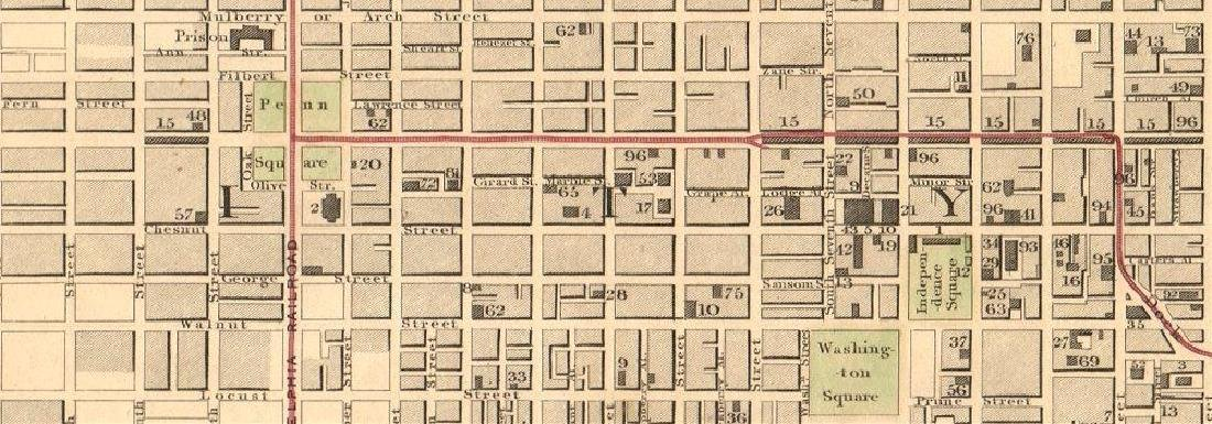 SDUK: Antique Map, City Plan of Philadelphia, 1847 - 2
