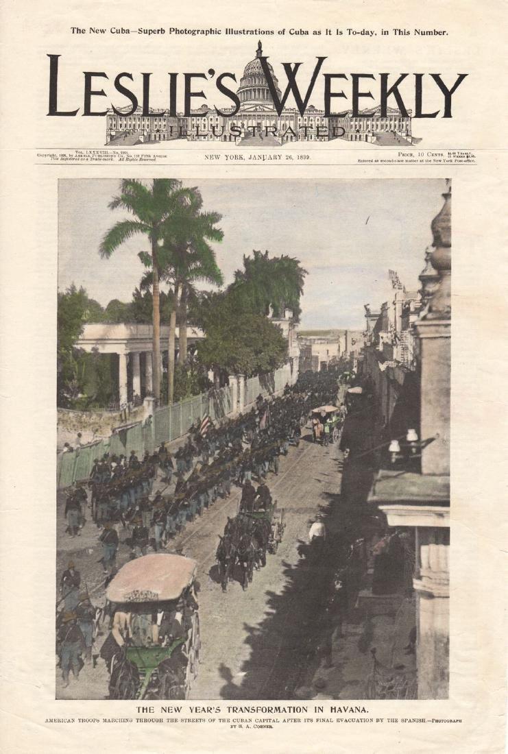 Leslie's Weekly: View of US Troops in Havana, Jan. 1899