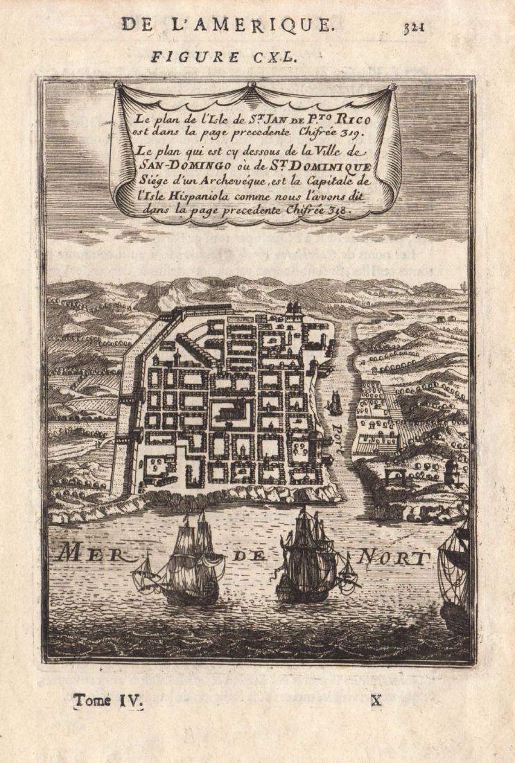 Mallet: Antique Miniature Santo Domingo Plan, 1683