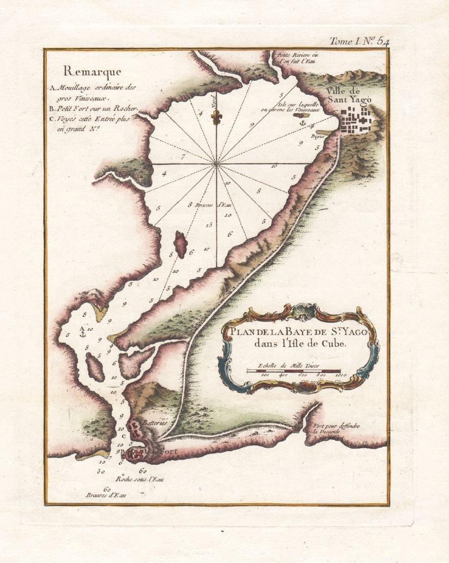 Bellin: Antique Map of Santiago de Cuba Bay, 1764