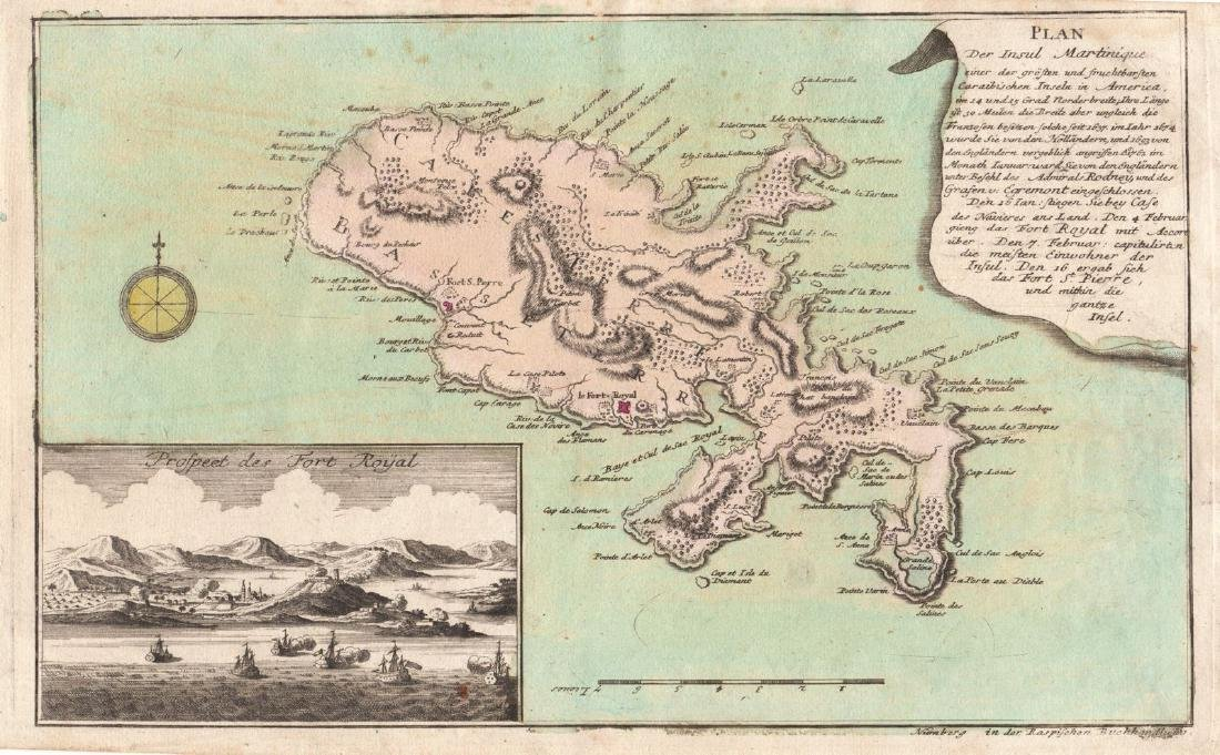 Raspe: Antique Map of Martinique with Fort Royal, 1765