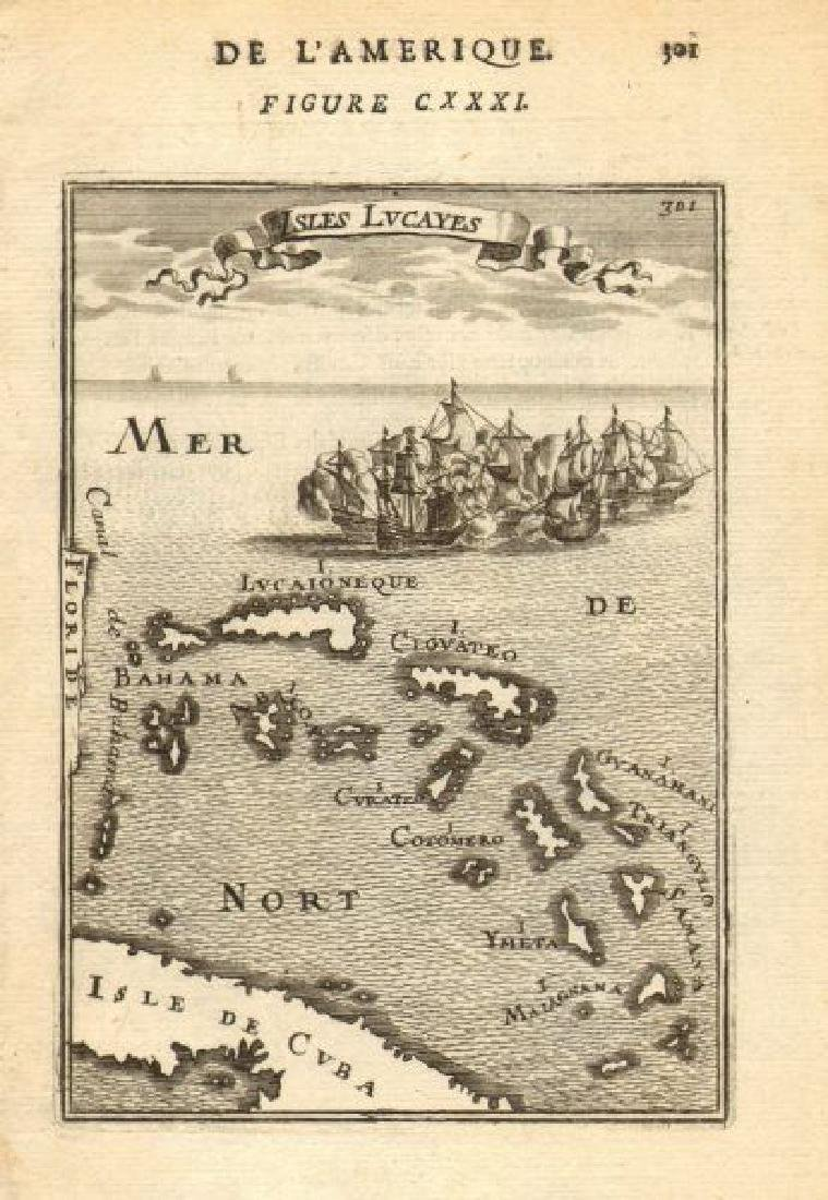 Mallet: Antique Map of Isles Lucayes, Bahamas, 1683