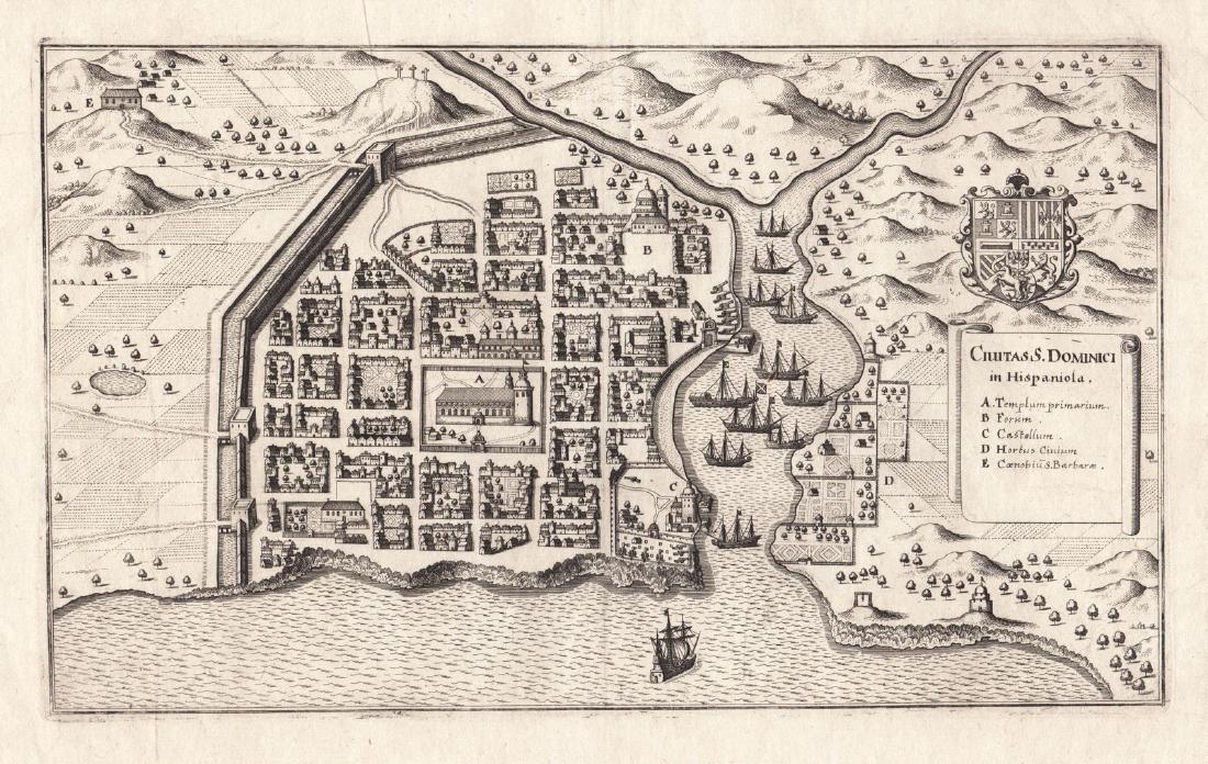 Merian: Antique Plan of Santo Domingo City, 1646
