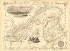 Tallis/ Rapkin: Antique Map East Canada, New Brunswick