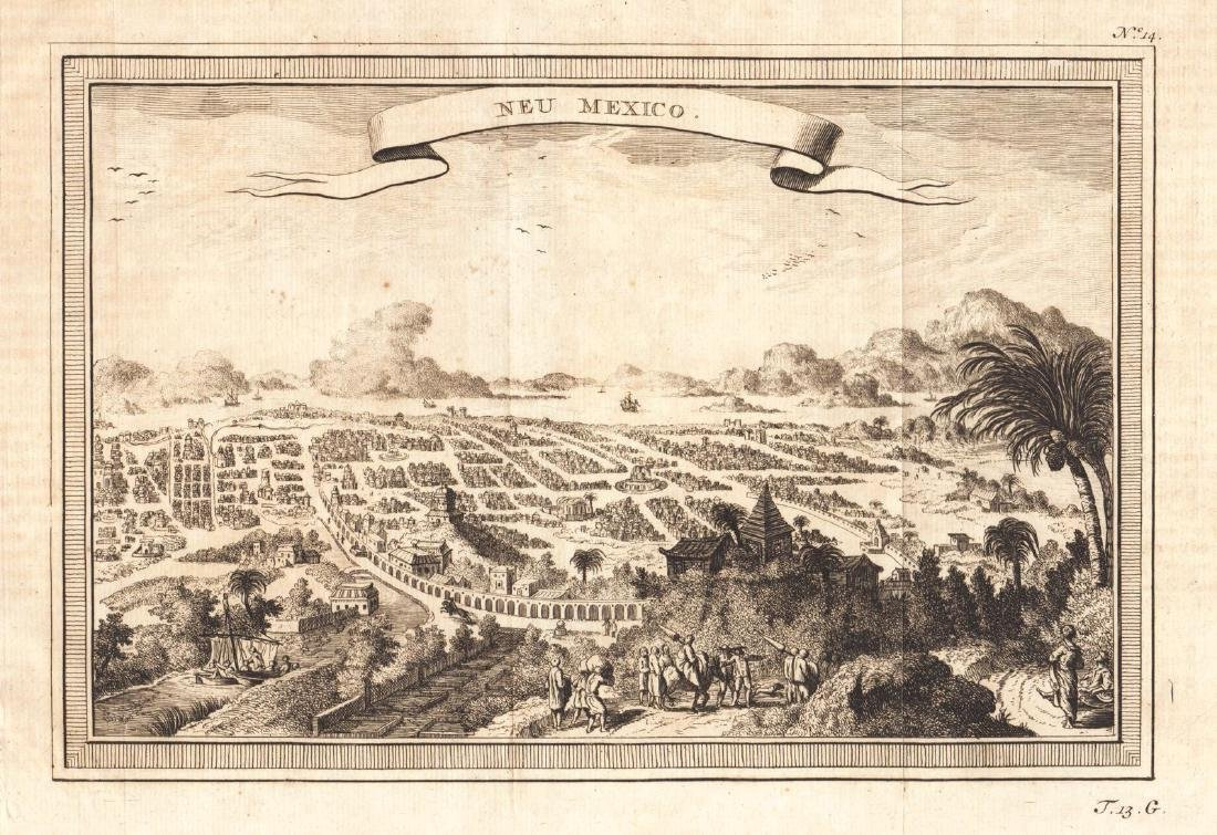 Bellin: Antique View Colonial Mexico City, 1754