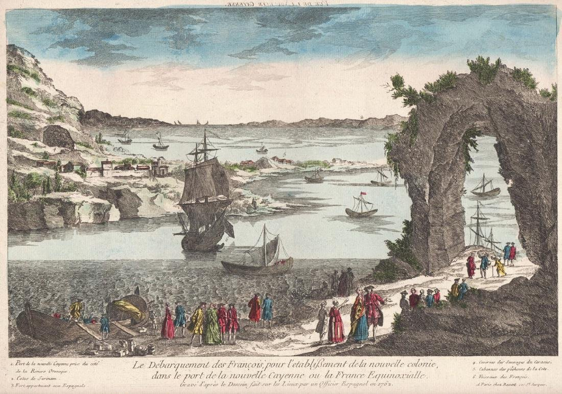 Basset: Antique View of Cayenne, French Guiana, 1760