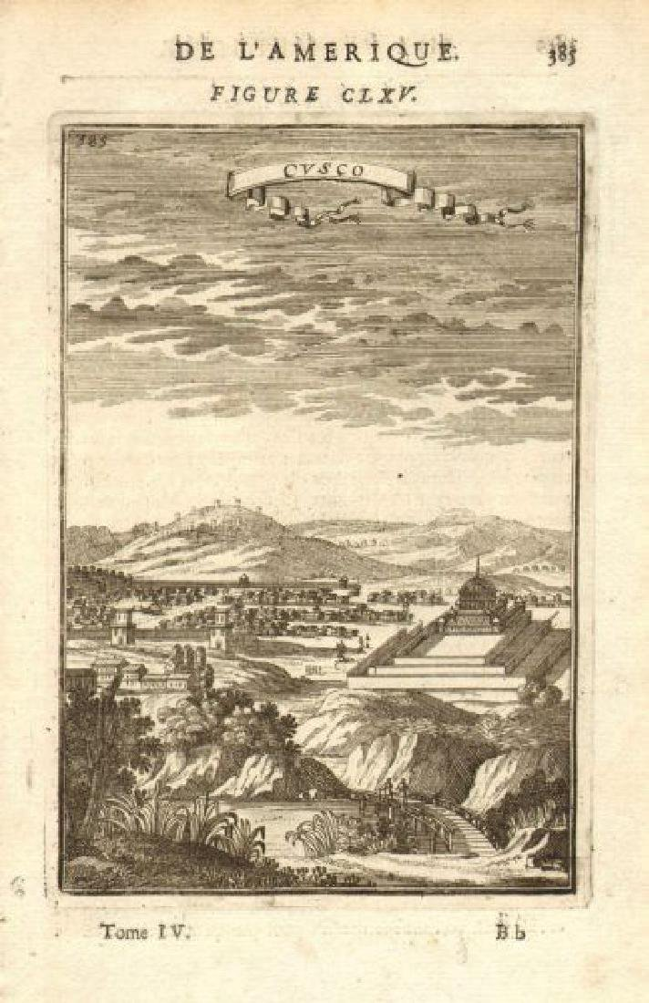 Mallet: Antique Map, City View of Cuzco, Peru, 1683