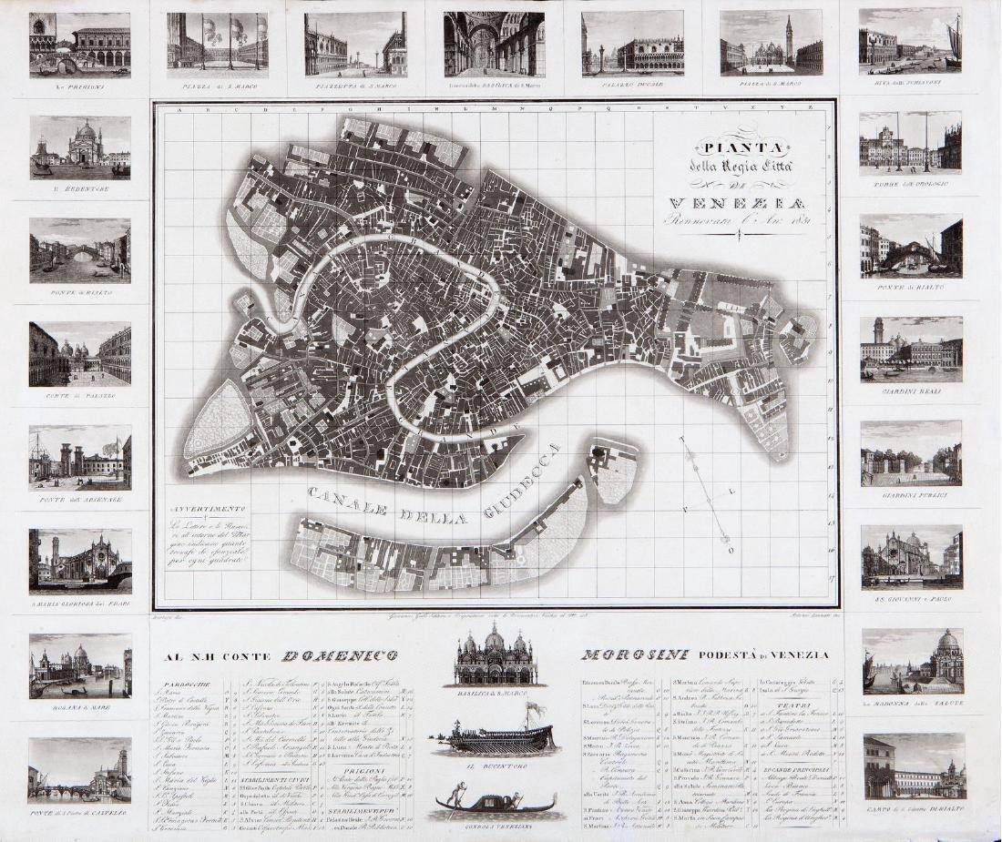 Bertoja/Galle: Antique Plan & View of Venice, 1831