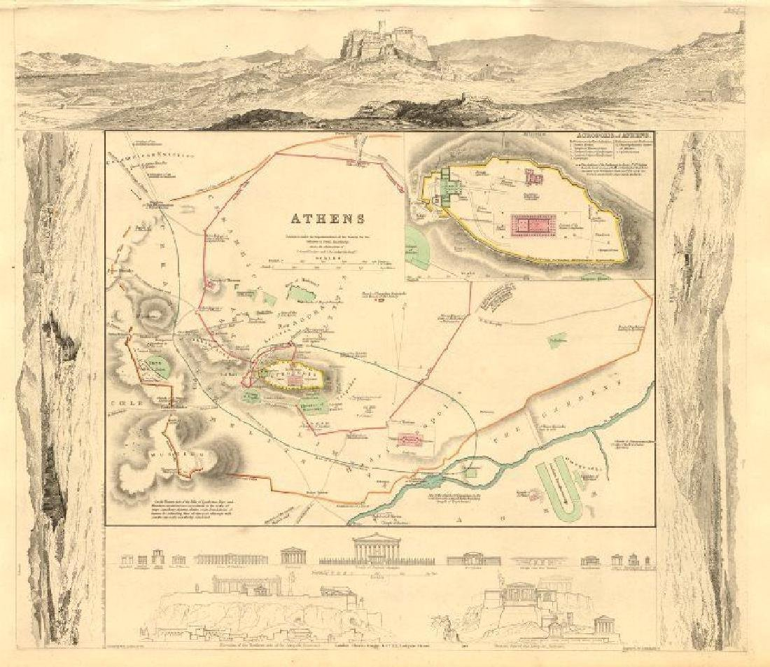 SDUK: Antique Map, City Plan of Athens, 1847