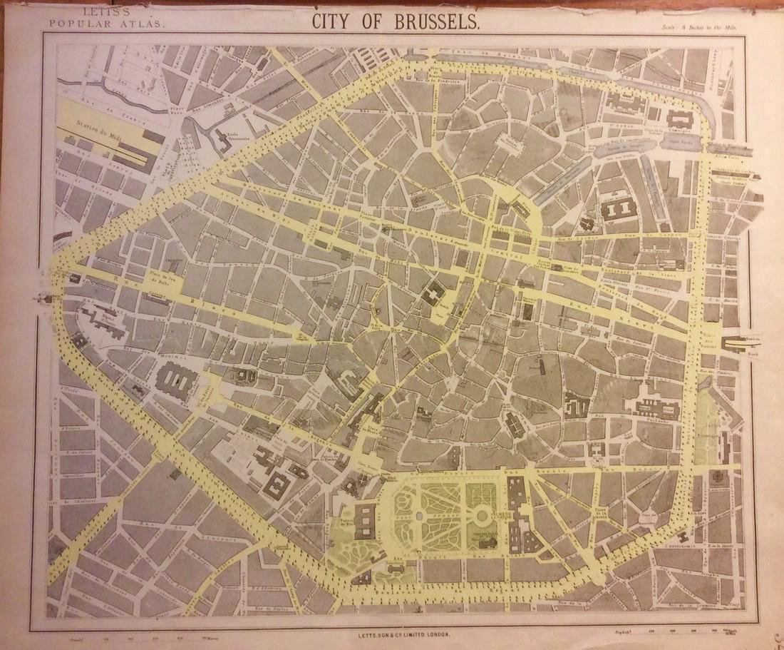 Antique Map, City Plan of Brussels, 19th C