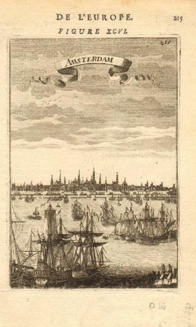 Mallet: Antique Map, City View of Amsterdam, 1683