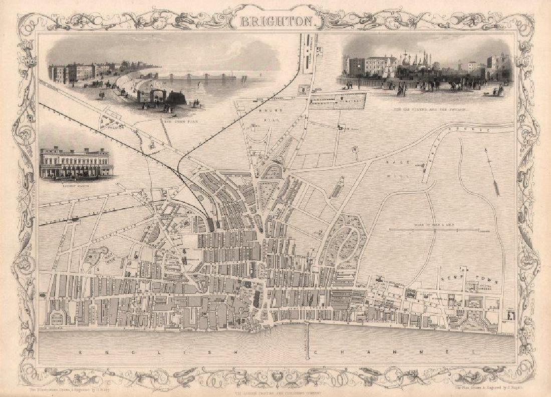 Tallis / Rapkin: Antique Map, Plan of Brighton, 1850