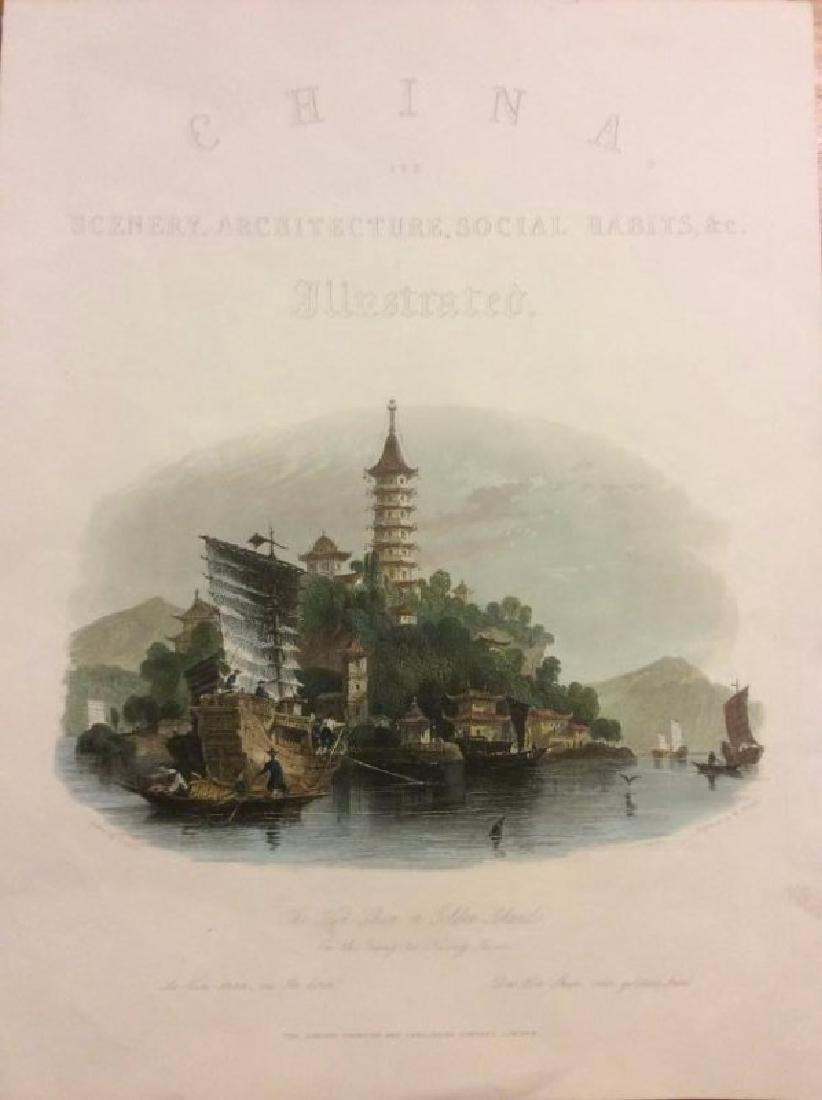 Allen: Antique View China Pagoda Ships on Island, 1843