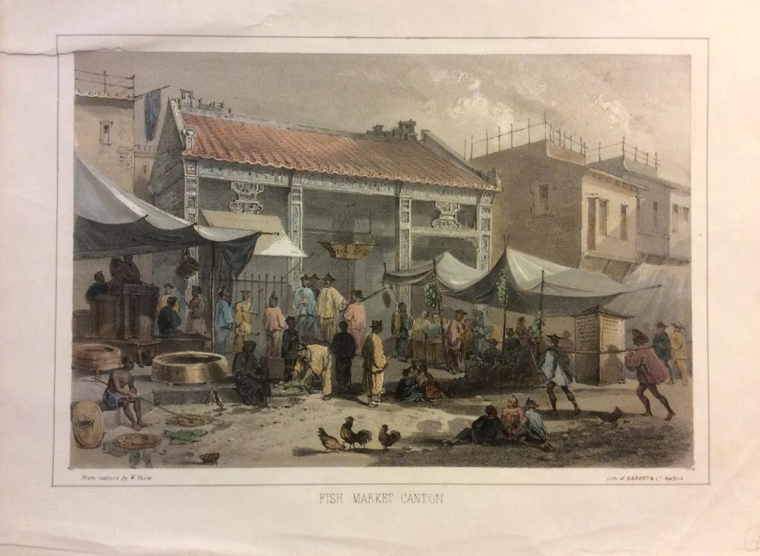 Heine: Antique View of Canton China Fish Market, 1854