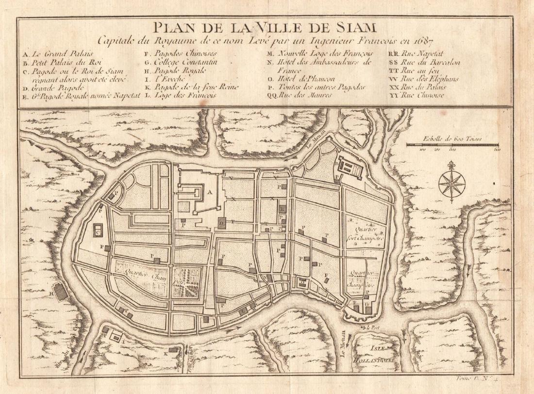 Bellin: Antique Plan of Town of Siam (Ayutthaya), 1750